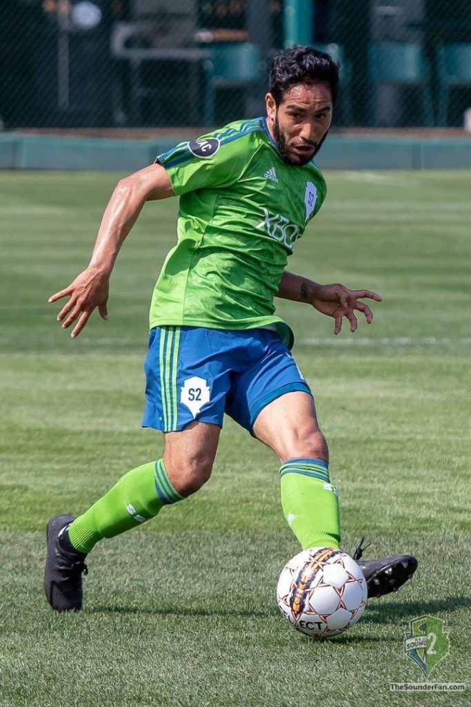David Estrada playing for Seattle Sounders team