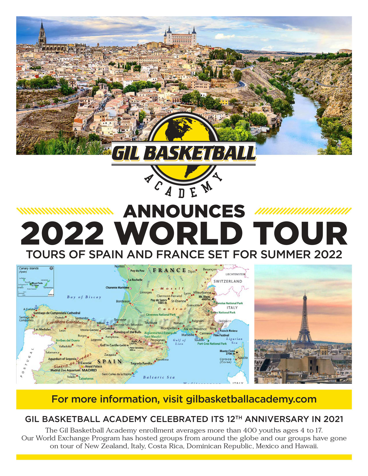 GBA 2022 World Tour Flyer to Spain and France
